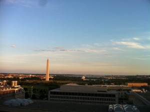 The Washington Monument from the rooftop patio of HuffPo's DC bureau