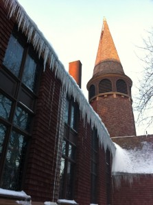 A church near my house displays icicles, the stuff of legend.