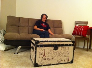 """I saw this cheap trunk at Home Goods and wanted it for a coffee table, but couldn't transport it home. The next day, after work, I went back to measure it and see about shipping. And I decided just to strongarm it back on the bus. When Mom called to ask if I'd found out about the cost, I said, """"Oh, yeah, shipping is free."""" Just a little sweat!"""