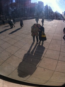 "Mom and I take the obligatory ""hey, it's us in the Bean!"" photo."