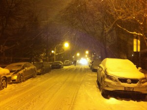 My street, snowed over.