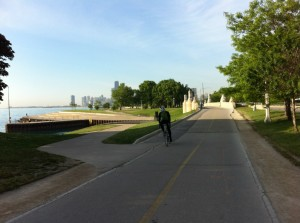 The benefits of cycling include but are not limited to: Not getting sat on my overly large people who want half of my bus seat, not sitting in all of Chicago's germs on public transit, fresh air, exercise, and gorgeous lakefront bike paths.