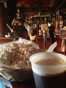 Beer and popcorn at Wolski's. This is the part of the evening I remember.